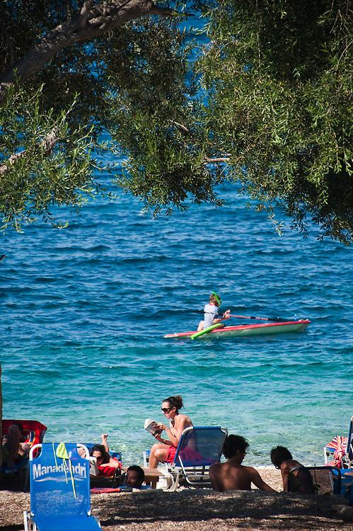 The beach of Manadendri at around 17:00 Manadendri beach, Paxoi, Greece
