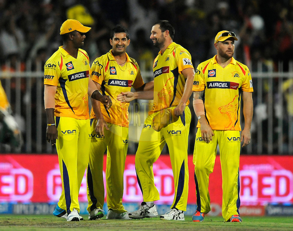 Mohit Sharma of The Chennai Superkings celebrates the wicket of Venugopal Rao of the Sunrisers Hyderabad during match 16 of the Pepsi Indian Premier League 2014 between the Delhi Daredevils and the Mumbai Indians held at the Sharjah Cricket Stadium, Sharjah, United Arab Emirates on the 27th April 2014<br /> <br /> Photo by Pal Pillai / IPL / SPORTZPICS