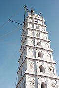 Nagore. Ships Rigging on a minaret of the Dargah shrine. A reminder of the maritime miracles.