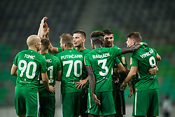 Olimpija players during football match between NK Olimpija Ljubljana and Aluminij in Round #9 of Prva liga Telekom Slovenije 2018/19, on September 23, 2018 in Stozice Stadium, Ljubljana, Slovenia. Photo by Morgan Kristan