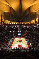 05 January 2013:  Global view of Doug Collins Court from the upper bowl of Redbird Arena before an NCAA Missouri Valley Conference (MVC) mens basketball game between the Northern Iowa Panthers and the Illinois State Redbirds in Redbird Arena, Normal IL