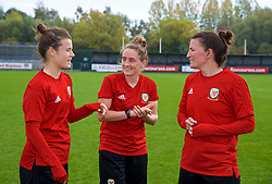 NEWPORT, WALES - Friday, October 5, 2018: Wales' L-R Hayley Ladd, Rachel Rowe and Helen Ward during a training session at Dragon Park. (Pic by David Rawcliffe/Propaganda)