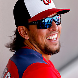 Mar 9, 2013; Melbourne, FL, USA; Washington Nationals first baseman Chris Marrero (14) in the dugout during the top of the third inning of a spring training game against the Miami Marlins at Space Coast Stadium. Mandatory Credit: Derick E. Hingle-USA TODAY Sports