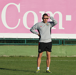PODGORICA, MONTENEGRO - Thursday, September 2, 2010: Wales' captain captain Craig Bellamy during a training session at the Montenegro FA Technical Centre ahead of the UEFA Euro 2012 Qualifying Group 4 match against Montenegro. (Pic by David Rawcliffe/Propaganda)