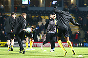 Brewers players warm up during the EFL Cup semi final second leg match between Burton Albion and Manchester City at the Pirelli Stadium, Burton upon Trent, England on 23 January 2019.