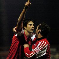 Photo: Leigh Quinnell.<br /> Hartlepool United v Swindon Town. Coca Cola League 1.<br /> 02/01/2006. Steve Jenkins congratulates Rory Fallon on his goal for Swindon.
