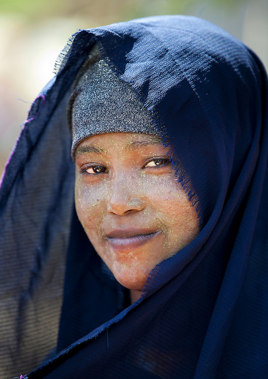 Cute Black Young Woman Wearing Veil Smiling Portrait Hargeisa Somaliland