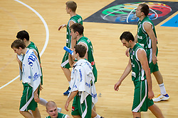 Disappointed players of Slovenia after the basketball game between National basketball teams of F.Y.R. of Macedonia and Slovenia at FIBA Europe Eurobasket Lithuania 2011, on September 10, 2011, in Siemens Arena,  Vilnius, Lithuania. Macedonia defeated Slovenia 68-59. (Photo by Vid Ponikvar / Sportida)
