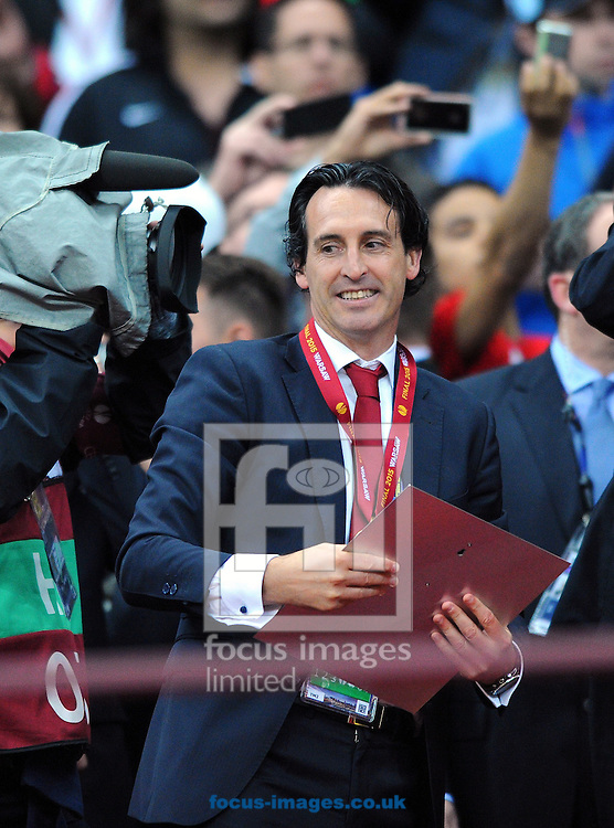 Sevilla manager Unai Emery during the Europa League trophy presentation after the UEFA Europa League final at the National Stadium, Warsaw<br /> Picture by Greg Kwasnik/Focus Images Ltd +44 7902 021456<br /> 27/05/2015