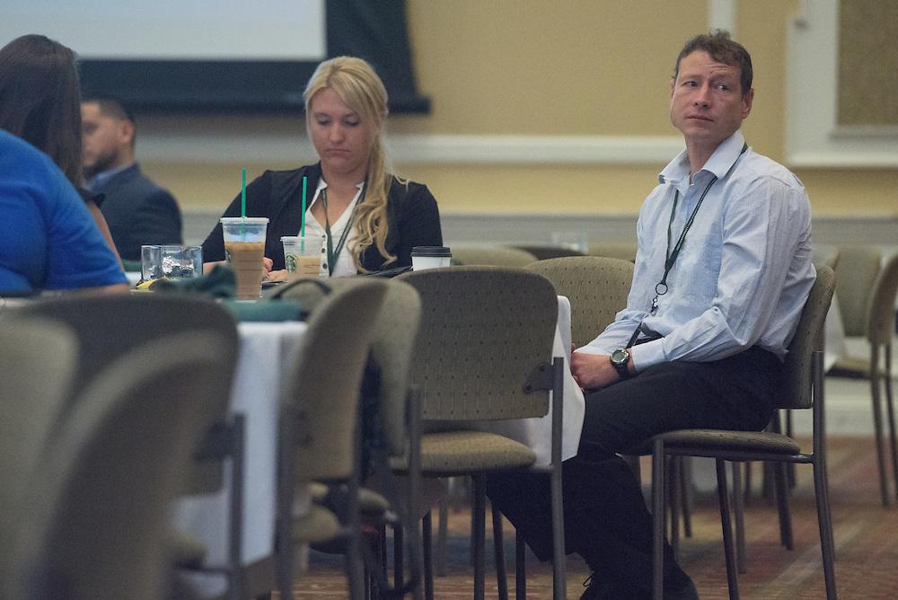 Mark Remington attends the Ohio MBA Leadership Development Workshop with speaker Dr. Jason Stoner, Associate Professor in the Ohio University College of Business, in the Baker Center ballroom on Saturday, August 27, 2016.