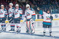 KELOWNA, CANADA - FEBRUARY 17: The Pepsi player of the game lines up alongside Michael Herringer #30 of the Kelowna Rockets against the Spokane Chiefs on February 17, 2017 at Prospera Place in Kelowna, British Columbia, Canada.  (Photo by Marissa Baecker/Shoot the Breeze)  *** Local Caption ***