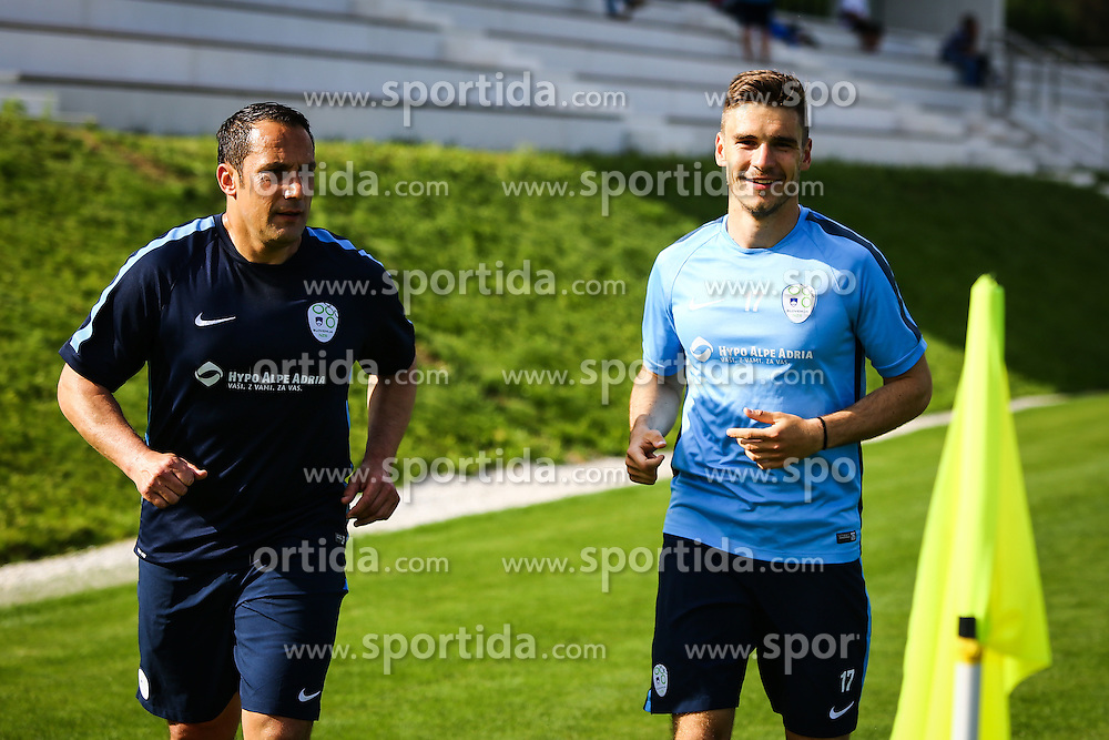 Ales Ceh and Benjamin Verbic  during practice session of Slovenian Football Team practice session of Slovenian National Team before game against Sweden, on May 26, 2016 in Football centre Brdo pri Kranju, Slovenia. Photo by Ziga Zupan / Sportida