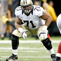 Sep 22, 2013; New Orleans, LA, USA; New Orleans Saints tackle Charles Brown (71) against the Arizona Cardinals during a game at Mercedes-Benz Superdome. The Saints defeated the Cardinals 31-7. Mandatory Credit: Derick E. Hingle-USA TODAY Sports