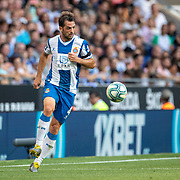 BARCELONA, SPAIN - August 18:  Victor Sanchez #4 of Espanyol in action during the Espanyol V  Sevilla FC, La Liga regular season match at RCDE Stadium on August 18th 2019 in Barcelona, Spain. (Photo by Tim Clayton/Corbis via Getty Images)