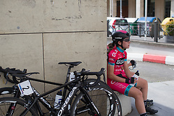 Lourdes Oyarbide (ESP) of Bizkaia-Durango Cycling Team relaxes after finishing the Durango-Durango Emakumeen Saria - a 113 km road race, starting and finishing in Durango on May 16, 2017, in the Basque Country, Spain.