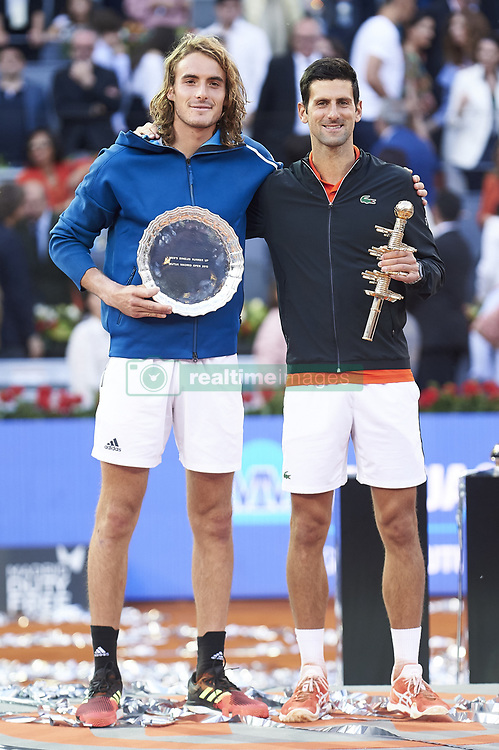 May 12, 2019 - Madrid, Spain - Greek Stefanos Tsitsipas and Serbian Novak Djokovic during ATP Singles Finals at Mutua Madrid Open in Madrid, Spain. May 12, 2019. (Credit Image: © Borjab.Hojas/NurPhoto via ZUMA Press)