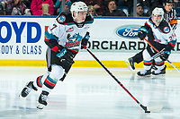 KELOWNA, BC - JANUARY 3:  Conner McDonald #7 of the Kelowna Rockets skates with the puck against the Victoria Royals at Prospera Place on January 3, 2020 in Kelowna, Canada. (Photo by Marissa Baecker/Shoot the Breeze)
