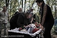 Ukraine, Donetsk: Mark Zverev's wife (R) and his mother (L) are seen as they mourns over his body on May 29, 2014.<br /> Zverev was a taxi driver who has been killed during clashes between pro-Russia supporters and Ukrainian army at Donetsk airport. ALESSIO ROMENZI