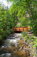 Bridge over Deep Creek in Hardy Falls Regional Park in Peachland, British Columbia, Canada