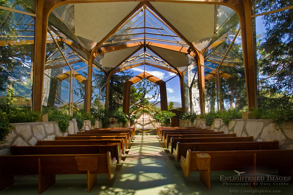 The Wayfarers Chapel, designed by Lloyd Wright, Palos Verdes Peninsula, Los Angeles County, California