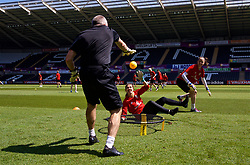 SWANSEA, WALES - Wednesday, June 6, 2018: Wales' goalkeeper Claire Skinner and goalkeeper Laura O'Sullivan during a training session at the Liberty Stadium ahead of the FIFA Women's World Cup 2019 Qualifying Round Group 1 match against Bosnia and Herzegovina. (Pic by David Rawcliffe/Propaganda)
