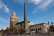 Pack Square with the Vance Monument  and Neo-Gothic Jackson Building in Asheville, NC.
