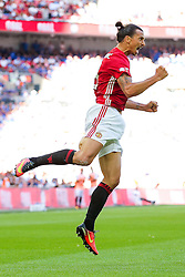 Zlatan Ibrahimovic of Manchester United celebrates scoring a goal to make it 1-2 - Rogan Thomson/JMP - 07/08/2016 - FOOTBALL - Wembley Stadium - London, England - Leicester City v Manchester United - The FA Community Shield.