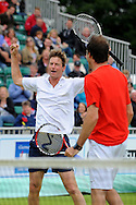 Picture by Ste Jones/Focus Images Ltd.  07706 592282.23/06/12.Peter Fleming celebrates with Greg Rusedski during a exhibition doubles match at the +medicash Liverpool International 2012 tennis at Calderstones Park, Liverpool.