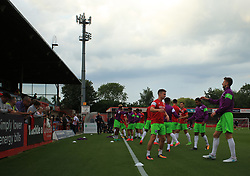 Bristol City players warm up in The LCI Rail Stadium - Mandatory by-line: Paul Roberts/JMP - 25/07/2017 - FOOTBALL - LCI Rail Stadium - Cheltenham, England - Cheltenham Town v Bristol City - Pre-season friendly
