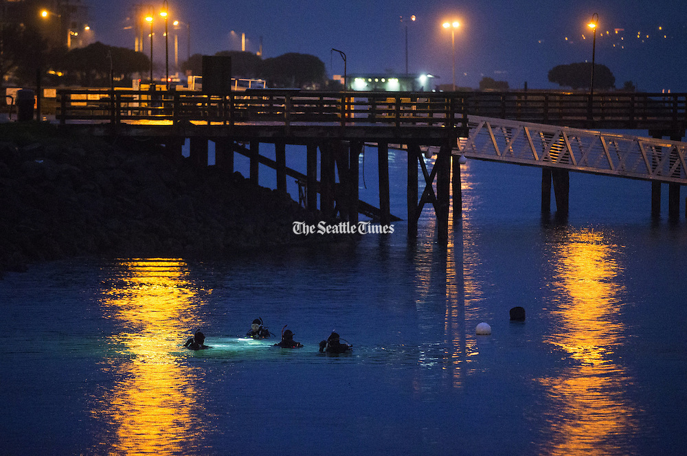A group of scuba divers practice in the waters of Elliott Bay  as it rains near Seacrest Park.<br /> <br /> Lindsey Wasson / The Seattle Times