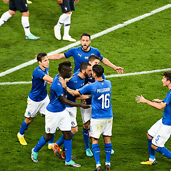 Leonardo Bonucci of Italy celebrates his goal with teammates during the International Friendly match between France and Italy at Allianz Riviera Stadium on June 1, 2018 in Nice, France. (Photo by Pascal Della Zuana/Icon Sport)