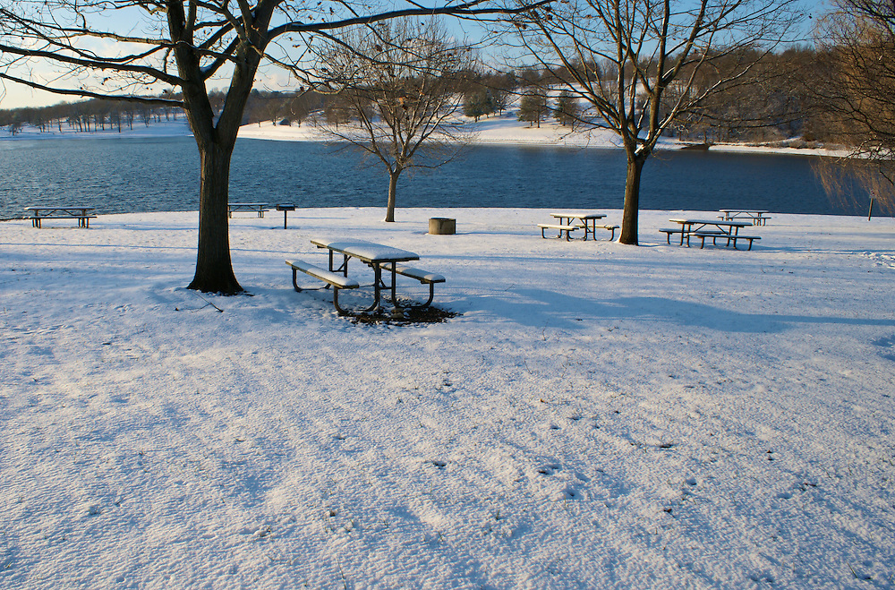 Winter Snow, Berks Co., PA Scene, Blue Marsh Lake, Picnic Tables and Bench