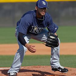 February 20, 2011; Port Charlotte, FL, USA; Tampa Bay Rays relief pitcher Matt Bush (44) during spring training at Charlotte Sports Park.  Mandatory Credit: Derick E. Hingle