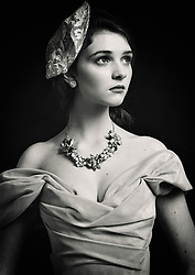 Girl in the painting, b/w. Abi, La Moda Models, Prestwold Hall, Leicestershire. Gown: Beyond Burlesque Jewels: Jacq Brill at Beloved Vintage Bridal MUAH: Lucy