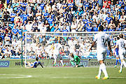 Chris Wood of Leeds United with a chance during the EFL Sky Bet Championship match between Cardiff City and Leeds United at the Cardiff City Stadium, Cardiff, Wales on 17 September 2016. Photo by Andrew Lewis.