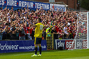 Bradley Fewster celebrates his goal during the Friendly match between York City and Middlesbrough at Bootham Crescent, York, England on 11 July 2015. Photo by Simon Davies.