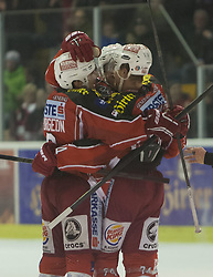 13.11.2013, Stadthalle, Klagenfurt, AUT, EBEL, EC KAC vs HC Orli Znojmo, 34. Runde, im Bild Jubel zum 4:3 durch Jamie Lundmark (Kac, #74), Tylor Spurgeon (Kac, #9), John Lammers (Kac, #20) // during the Erste Bank Icehockey League 34th Round match betweeen EC KAC and HC Orli Znojmo at the City Hall, Klagenfurt, Austria on 2013/11/13. EXPA Pictures © 2013, PhotoCredit: EXPA/ Gert Steinthaler