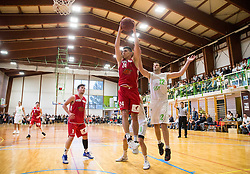 Goran Jagodnik of Ilirija vs Milan Kovacevic of Mesarija Prunk Sezana during basketball match between KD Ilirija and KK Mesarija Prunk Sezana in Last Round of 2. SKL  2016/17, on April 15, 2017 in GIB center, Ljubljana, Slovenia. Photo by Vid Ponikvar / Sportida