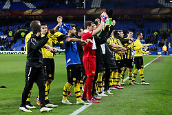 Young Boys players acknowledge the fans after the final whistle - Photo mandatory by-line: Matt McNulty/JMP - Mobile: 07966 386802 - 26/02/2015 - SPORT - Football - Liverpool - Goodison Park - Everton v Young Boys - UEFA EUROPA LEAGUE ROUND OF 32 SECOND LEG