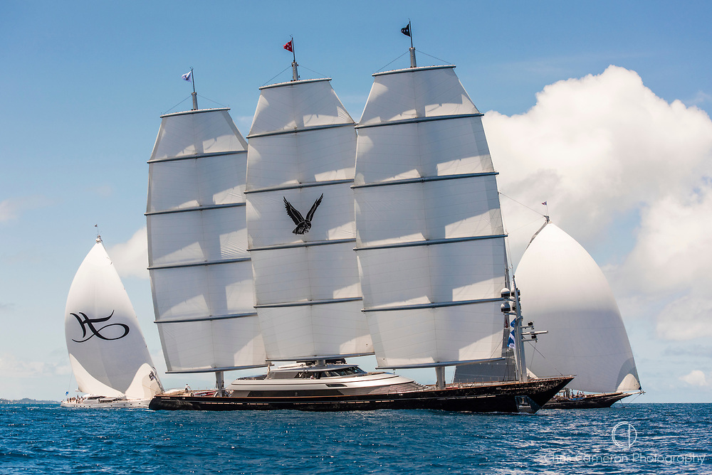 Bermuda, 13th June 2017. America's Cup Superyacht regatta. Race one. Hyperion, Maltese Falcon.
