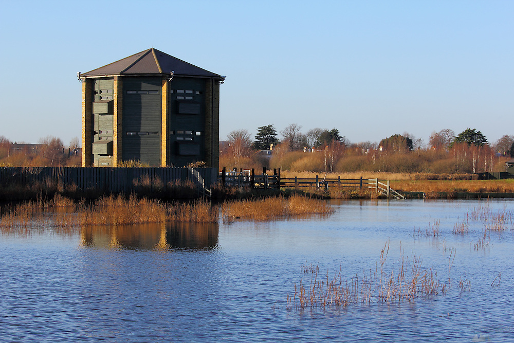 The Peacock Tower, one of the hides at the London Wetland Centre, Barnes, London,