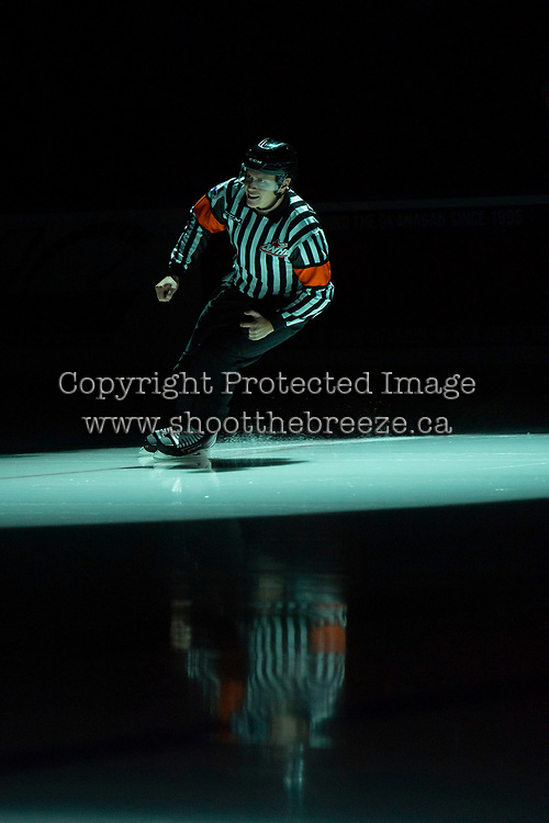 KELOWNA, BC - NOVEMBER 8: Referee Ward Pateman enters the icea at the start of the game between the Medicine Hat Tigers visiting the Kelowna Rockets at Prospera Place on November 8, 2019 in Kelowna, Canada. (Photo by Marissa Baecker/Shoot the Breeze)