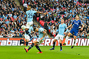 Nicolas Otamendi (30) of Manchester City nearly scores an own goal in the dying seconds of the first half during the Carabao Cup Final match between Chelsea and Manchester City at Wembley Stadium, London, England on 24 February 2019.