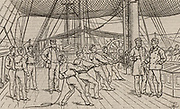 Naval cadets on the Royal Navy training ship HMS Worcester.  Hauling on reefing tackle during sailing drill. Woodcut, London, 1888.