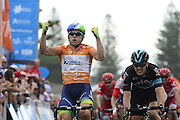 22.01.2016. Norwood, Australia. Tour Down Under cycling tour, stage 4 Norwood to Victor Harbor.  Orica Greenedge; 2016, Team Sky; Gerrans Simon, Swift Ben at the finish line in Victor Harbor
