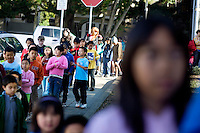 Students of West Portal Elementary School line up for a fire drill outside their building, in San Francisco, Ca., on Friday, Sept. 11, 2009.  The school holds a Chinese immersion program, the first one in the U.S., which celebrates the 25th anniversary. Since then, many Chinese programs have opened in the city and the country.
