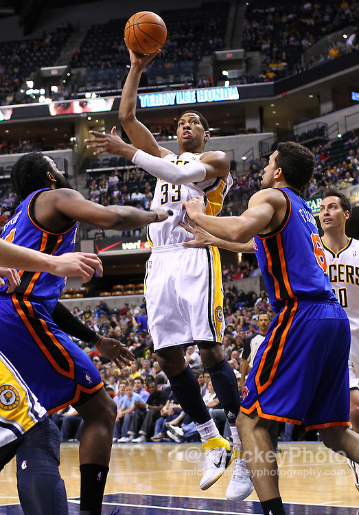 April 10, 2011; Indianapolis, IN, USA; Indiana Pacers forward Danny Granger (33) puts up a hook shot against the New York Knicks at Conseco Fieldhouse. New York defeated Indiana 110-109. Mandatory credit: Michael Hickey-US PRESSWIRE