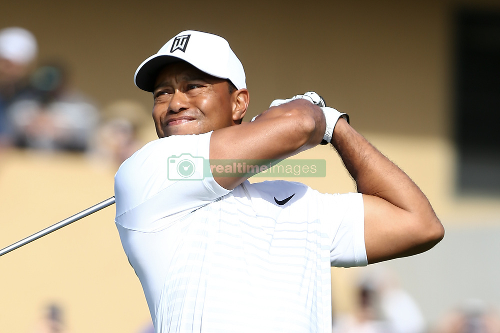 January 27, 2018 - San Diego, California, United States - Tiger Woods tees off the first hole during the third round of the 2018 Farmers Insurance Open at Torrey Pines GC. (Credit Image: © Debby Wong via ZUMA Wire)