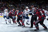 KELOWNA, CANADA - MARCH 10:  Luc Smith #24 of the Kamloops Blazers shoots the puck after the face off against Kyle Topping #24 of the Kelowna Rockets on March 10, 2018 at Prospera Place in Kelowna, British Columbia, Canada.  (Photo by Marissa Baecker/Shoot the Breeze)  *** Local Caption ***