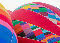 Detail of colorful balloons as they are being set up at the Albuquerque International Balloon Fiesta (festival), new mexico, USA.